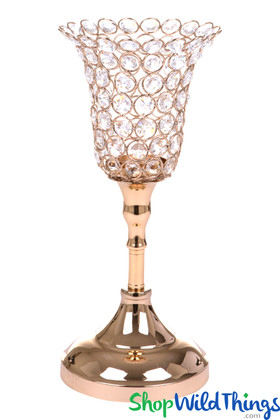 """Beaded Real Crystals Candle Holder - Tulip Shape - """"Prestige"""" - Gold 13"""""""