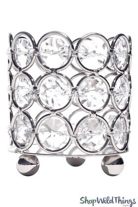 """Candle Holder - Cylinder Beaded Real Crystal - """"Prestige"""" - Crystal Gem Votive - 2 3/4"""" Silver"""