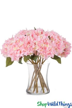 "Silk Hydrangea Bloom Pink & Cream - Deluxe 6"" Flower"