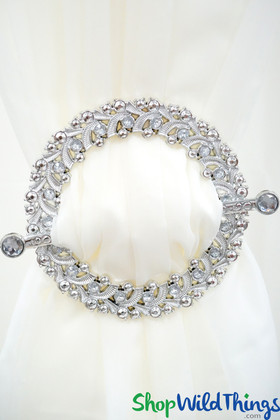 """Royalty Curtain & Fabric Tie-Back Brooches - 7"""" Set of 2 - Silver Jeweled Circles"""