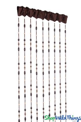 "Acrylic Beaded Curtain ""Costa"" Brown Fabric Top - 40"" x 84"" - Hand Strung!"
