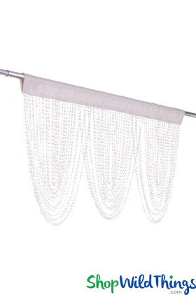 "Diamonds Beaded Swag ""Luna"" - Crystal Iridescent 42"" x 20"" - Choose Rod Pocket Color!"