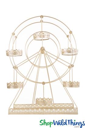 "Rotating Metal Ferris Wheel Dessert Server  Light Gold  22""H x 19""L"