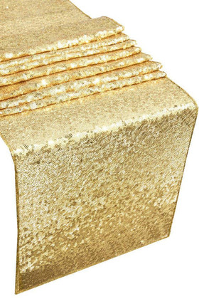 Table Runner - Gold Sequins - 1' x 9'