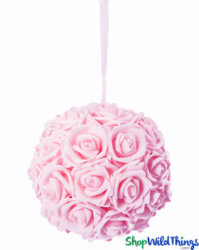 "Real Feel Flower Ball - Foam Rose - Pomander Kissing Ball - 6"" Pink"
