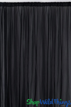 Sheer Draping Panel Black 10' Tall x 10' Wide w/ Top & Bottom Rod Pockets Flame Resistant - Ceilings or Backdrops
