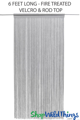 Silver Gray Fire Treated String Curtain Fringe Panel for Doors and Windows, 6' Long Rod Pocket Curtain Backdrop by ShopWildThings.com