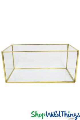 "Geometric Rectangle Terrarium & Candle Holder - Gold - 9 3/4"" Long x 4 3/4"" Wide"