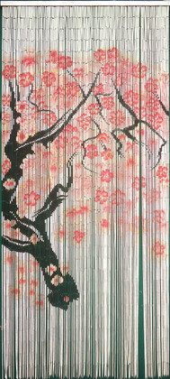 "Bamboo Painted Beaded Curtain ""Cherry Tree"" - 125 Strands"