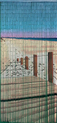"Bamboo Painted Beaded Curtain ""Walkway to the Beach"" - 90 Strands"