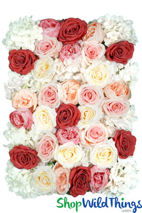Multi-Color Pink, Ivory, Red Flower Wall Backdrop Panels ShopWildThings.com