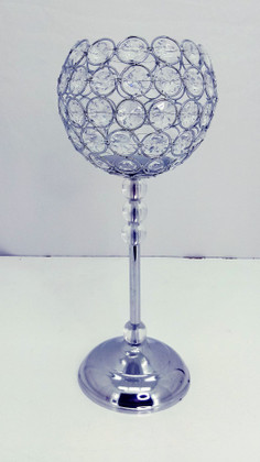 """CLEARANCE! Crystal Beaded """"Rosie"""" Candle Holder Goblet - 16""""H x 6 3/4""""W"""