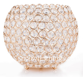 """CLEARANCE! Candle Holder - Real Beaded Crystal Ball Large - """"Prestige"""" - 7"""" Gold"""