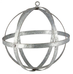 "Galvanized Metal Folding Ball, Silver 8"" - Floral Design Sphere Orb"