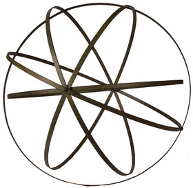 "Wrought Iron Folding Ball, Patina Finish 23 1/2"" - Floral Orb Garden Sphere"