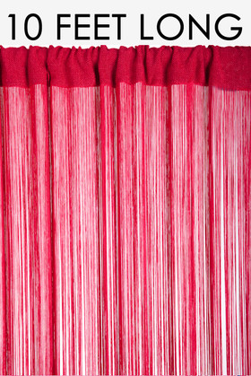 "String Curtain Red 36"" x 120"" - Rayon"