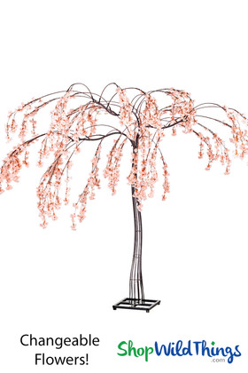 Black Metal Tree with Pink Cherry Blossoms Lifesize Event Tree by ShopWildThings.com