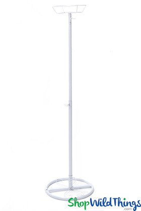 """Basket Top Floral Centerpiece Riser - Ajustable to 48"""" Tall White Metal"""