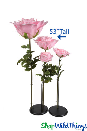 Giant Artificial Pink Roses with Stem Standing Flowers For Events ShopWildThings