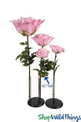 "Oversized Medium Silk Rose Bloom w/Removable Stem - Pink - 42""H x 9""W"