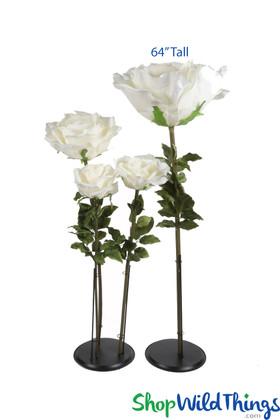 """Oversized XXL Silk Rose Bloom w/Removable Stem - Ivory - 64""""H x 26""""W"""