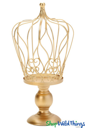 """2 in 1 Crown Centerpiece with Pedestal, Candle Holder, Cake Topper - Gold 14 3/4"""""""
