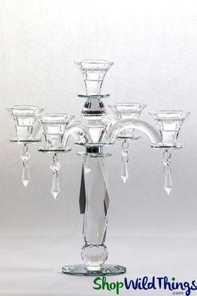 """Real Crystal 5 Cup Candelabra """"Barrie"""" - 12"""" Tall"""