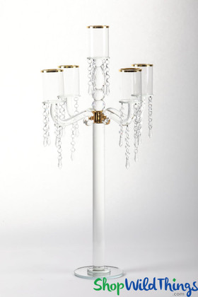 """Real Crystal Candelabra, 5 Cups Rimmed in Gold, 30"""" Tall Elegant Centerpiece by ShopWildThings.com"""