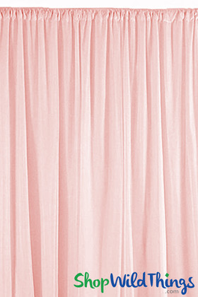 Sheer Draping Panel Pink 10' Tall x 10' Wide w/ Top & Bottom Rod Pockets Flame Resistant - Ceilings or Backdrops