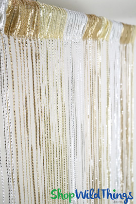 String Curtains - Sparkle White-Ivory-Tan Mix w/Tension Rod
