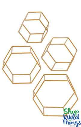 "Geometric Floral Display Builder ""Honeycomb"" Gold, Set of 4 Metal Frames"