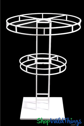 Multi Tier White Flower Display Stand, Round Floral Riser Column for Floor or Tabletop Decorations by ShopWildThings.com