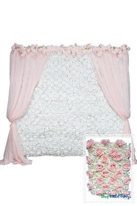 Flower Wall Kit - 8' x 8' Portable Backdrop Kit - Pink Roses & Ivory Hydrangeas