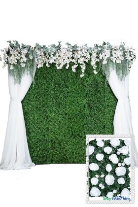 Flower Wall Kit - 8' x 8' Portable Backdrop Kit - White Roses on Green Leaves