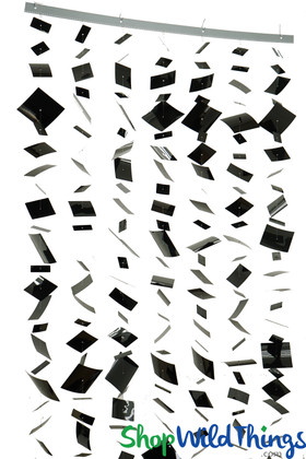 """Bendable Floating """"Confetti"""" (Fireproof PVC)  Curtain OR Column! Black"""