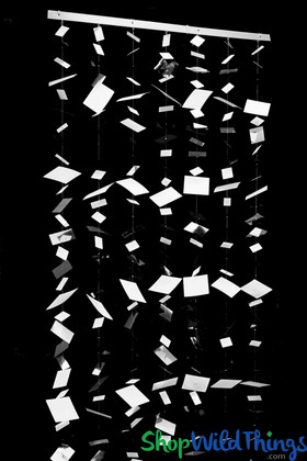 """Bendable Floating """"Confetti"""" (Fireproof PVC)  Curtain OR Column! Black/White/Silver"""