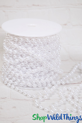 Roll of Beads PREMIUM WEIGHT - 22 Yards (66 Feet) White Pearls 8mm Balls