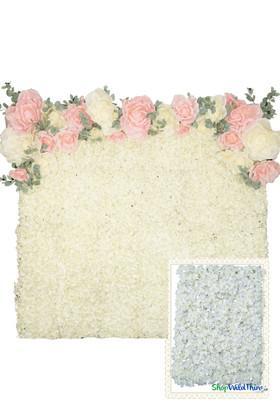 Flower Wall Kit - 8' x 8' Portable Backdrop Kit - Cream & White Cherry Blossoms