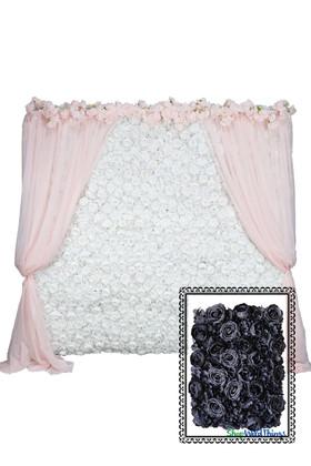 Flower Wall Kit - 8' x 8' Portable Backdrop Kit - Black Roses, Peonies & Hydrangeas
