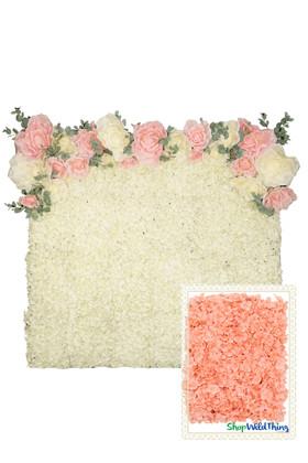 Flower Wall Kit - 8' x 8' Portable Backdrop Kit - Premium Coral Hydrangeas