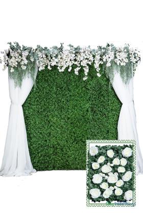 Flower Wall Kit - 8' x 8' Portable Backdrop Kit - Cream Roses on Green Leaves