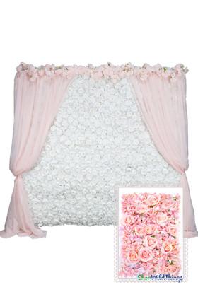 Flower Wall Kit  8' x 8' Portable Backdrop Kit Multi-Pink Roses & Hydrangeas