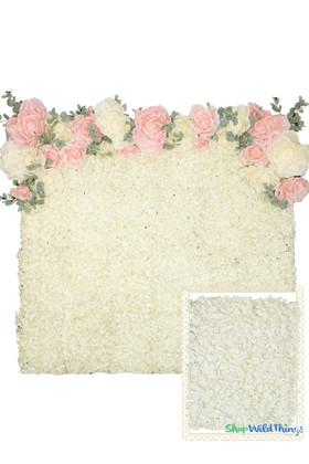 Flower Wall Kit - 8' x 8' Portable Backdrop Kit - Light Cream Hydrangeas