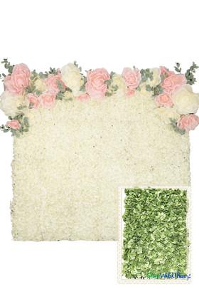 Flower Wall Kit - 8' x 8' Portable Backdrop Kit - Green Hydrangeas