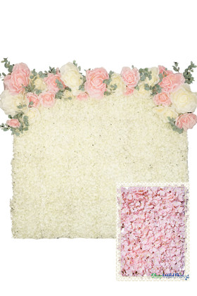 Flower Wall Kit - 8' x 8' Portable Backdrop Kit - Blush Pink Hydrangeas