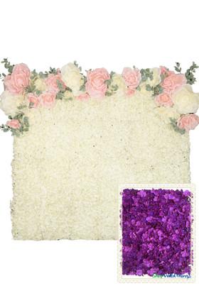 Flower Wall Kit - 8' x 8' Portable Backdrop Kit - Purple Hydrangeas