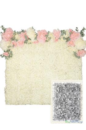 Flower Wall Kit - 8' x 8' Portable Backdrop Kit - Metallic Silver Hydrangeas