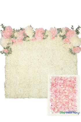 Flower Wall Kit - 8' x 8' Portable Backdrop Kit - Pink & Cream Hydrangeas