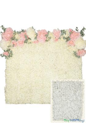 Flower Wall Kit - 8' x 8' Portable Backdrop Kit - White Hydrangeas