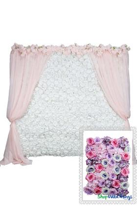 Flower Wall Kit - 8' x 8' Portable Backdrop Kit - Purples & Pinks Roses & Hydrangeas